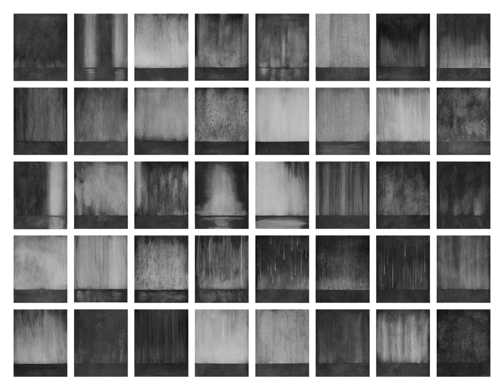"Deluge, Graphite on Panel, forty 10"" x 8"" panels (overall dimensions variable) 2007"
