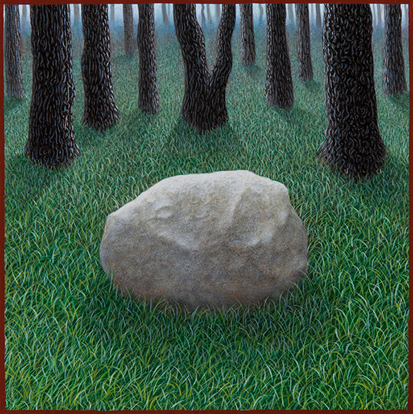 "Anthonly Pessler - Stone in Woods, Oil on Panel, 5"" x 5"", 2012"