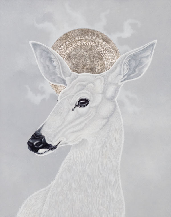 "Icon with Doe, 10"" x 8"", Oil and Silver on Panel, 2009"