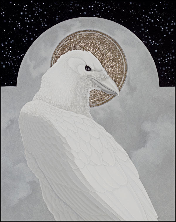 "Icon with Raven, 10"" x 8"", Oil and Silver on Panel, 2009"